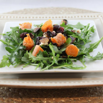 Roasted Carrot Salad with Cranberries, Almonds, Feta & Arugula