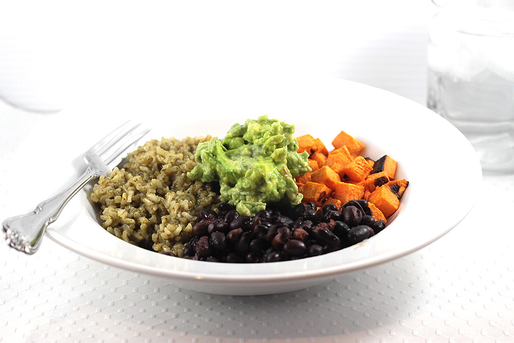 Sweet Potato + Green Rice + Black Bean Burrito Bowl