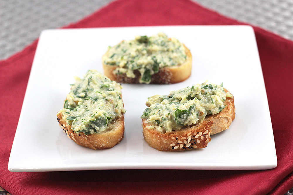 Artichoke + Walnut Pesto Crostini